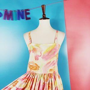 Vtg 80s Pastel Floral Button Aline Dress M